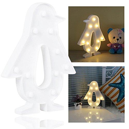 REKYO Laufschrift LED Nachtlicht, niedlichen LED-Lampen an Wand, Raum dekoratives Licht, Tisch Lampe Stimmung Beleuchtung Lampe Kinder Zimmer Weihnachten Deko (Pinguin)