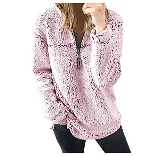 BUKINIE Damen Casual Oversized Sherpa Fleece Jacke Hoodies Zip Up Fluffy Fleece Sweatshirt Outwear Coats Gr. Small, Pink