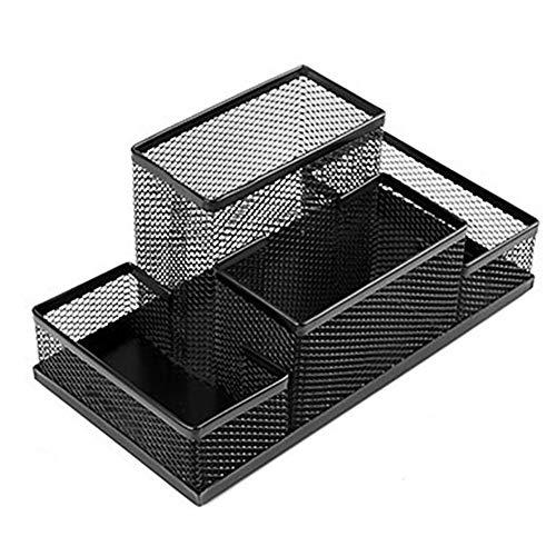 Hirkase Schreibtisch Organizer, Schreibtisch Tidy Mesh Tidy Organizer, Tisch-Organizer Multifunktions -Organisator Metall (6787 Schwarz)