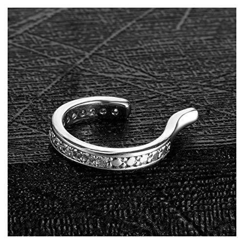 LZZR 1PC Copper Clip On Earrings For Women Crystal Ear Clip Cuff Wrap Piercing Fake Earrings Hoop Non-Pierced Cartilage Jewelry (Color : Silver)