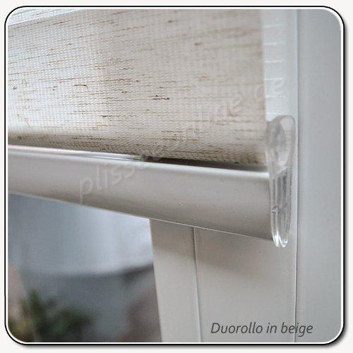 Dubbel rolgordijn duo-rolgordijn kleur beige 80 cm breed 170 cm lang met brede verzwaring + gesloten cassette + kettingkoord alternatief voor gordijn of plissé