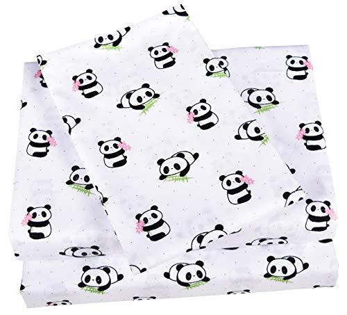Scientific Sleep Cute Panda Cotton Cozy Twin Bed Sheet Set, Flat Sheet & Fitted Sheet & Pillowcase Bedding Set (13, Twin)