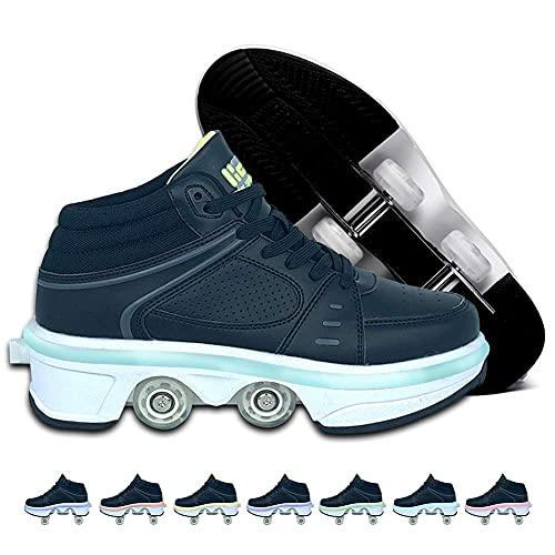 MENG Flash Roller Skates Damenschuhe Mit 7 Farben Led-Lichtern Casual Outdoor Automatische Wanderschuhe Für Frauen/Männer, Verstellbare Parkour-Schuhe, Die In Rollenschuhe Für Mädchenjungen Werden,