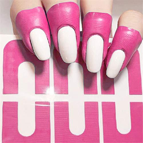 10 Stück/1 Sheet Nagellack Schablone, Einweg Nail Protector Sticker Protector Tapes Aufkleber Band Maniküre Anti Überlauf Verpackungs Nagel Schutz U-Form-Band für Nail Art (Pink)