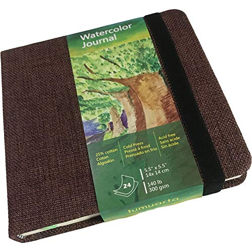 """tumuarta Square Watercolor Journal, 5.5x5.5"""", 140 LB, 300 GSM, Cotton Paper, Cold Press, 24 Sheets, 48 Pages, Watercolor Paper Notebooks for Use As Travel Sketchbooks On The Go, Elastic Band."""