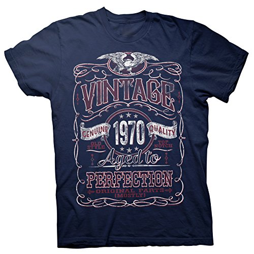 50th Birthday Gift Shirt - Vintage Aged to Perfection 1970 - Navy-003-XL