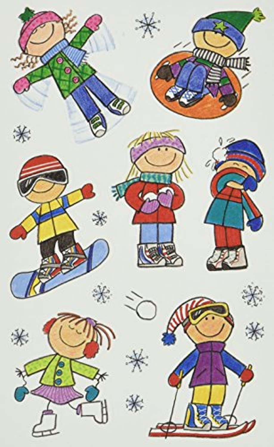 Me & My Big Ideas Mambi 4-1/2 Inch by 6 Inch Minis Stickers 3 Sheets/Package, Winter Kids