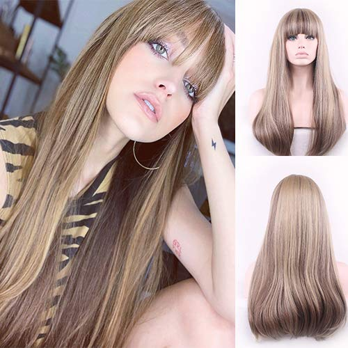 Blue Bird Long Silky straight Wigs Brown Mixed Blonde Synthetict parrucche con frangia per donne bianche highlight color fibra resistente al calore