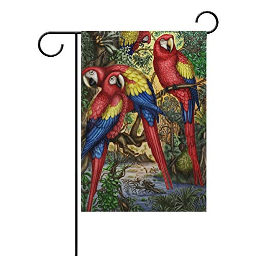 Qingtian Spring Summer Garden Flag Yard Decoration, Macaw Parrots Tropical Bird Dense Jungle Double-Sided Polyester Welcome House Flag Banner for Outdoor Lawn Party Decor, 12' x 18'
