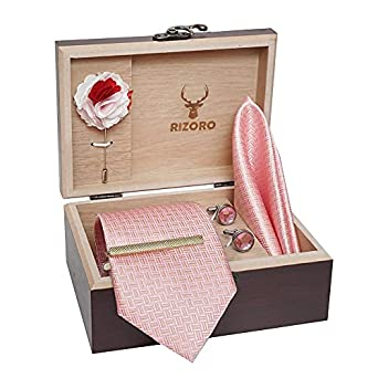 Rizoro Mens Plaid Micro Self Silk Light Pink Necktie Gift Set With Pocket Square Cufflinks Brooch Pin Men Tie Clip Formal Tie With Wooden Box For Gifting (RSWW_24, Free Size)