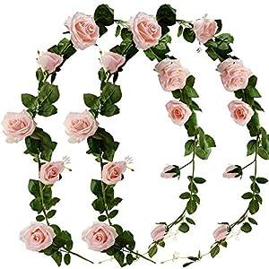 Silk Flower Arrangements FiveSeasonStuff Artificial Flower Garland Decorations for Hanging, Rose Silk Floral Garlands, Bendable Vines (Dreamy Pink 2pcs 13.2 feet)