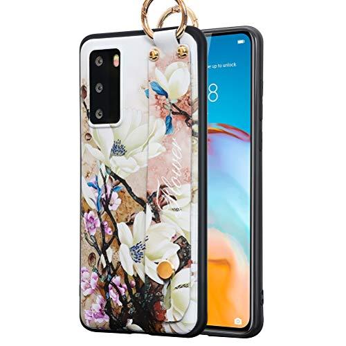 ZhuoFan Funda para Huawei Nova 8 Pro 5G, Silicona Pulsera Cárcasa Soporte con Dibujos Diseño Suave TPU Antigolpes de Protector Piel Case Cover Bumper Fundas para Huawei Nova8 Pro 5G 6,72', Flor 2