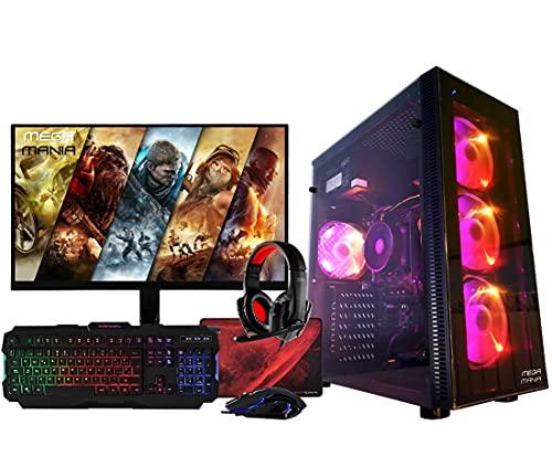 Megamania PC Gaming AMD Ryzen 7 2700 (8 Núcleos up to 4,1Ghz) | 16GB DDR4 | SSD 480GB + 1TB HDD Esclavo | Nvidia GeForce GTX 1660 6GB | WiFi + Monitor LED Curvo 24' + Kit Gaming