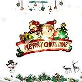 U/R 3D Pendentifs Motifs de Noël Alimenté Batterie(Non incluses) Eclairage de Noël Décoration Intérieur LED Guirlande Lumineuse pour Noël Balcon Terrasse Fenêtre Patio Jardin Maison(Joyeux Noël)