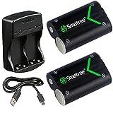 Smatree Xbox One /Elite/ X/ Sコントローラー用2000mAh大容量バッテリー2個+急速充電器 充電式電池 2個同時充電が可能