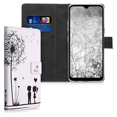 kwmobile Wallet Hülle kompatibel mit LG K41S - Hülle Kunstleder mit Kartenfächern Stand Pusteblume Love Schwarz Weiß