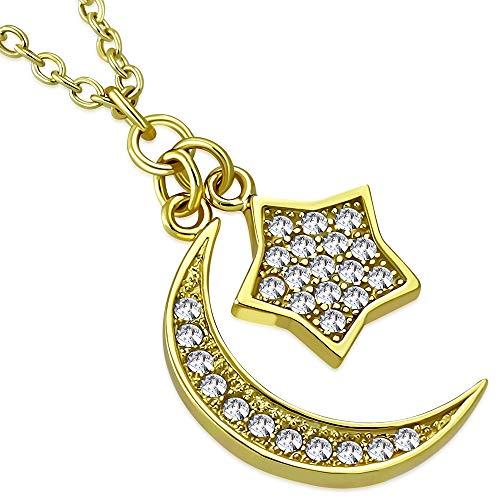 925sterling Silver Yellow gold-tone CZ da donna a forma di mezzaluna con ciondolo a forma di stella