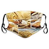 Comfortable Activated Carbon mask,Various Stages of Bread Making from Wheat to Final Product Collage Pattern,Printed Facial Decorations for Adults Man Woman M
