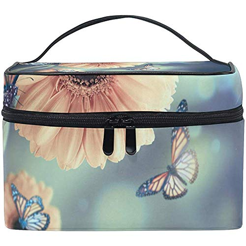 Sac de Voyage cosmétique Floral Background Gerbery Rays Light Butterfly Portable Printing Toiletry Case Makeup Bag