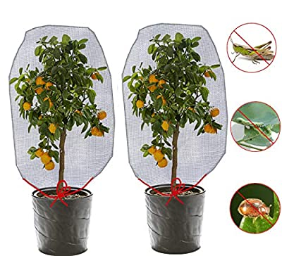 ZOETIROL (3.93 x 2.6 ft) 2 Pieces Bird Barrier Netting Mesh Plant Cover Nylon Netting Garden Plant Barrier Bag Plant Protect Bags with Drawstring for Vegetables Fruits Flower from Bird Squirrels