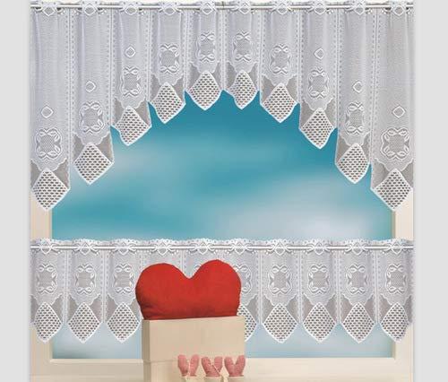 Heichkell Scheibengardine 2 Teilige Spitze-Jacquard Vorhang Set C-Bogen HxB 60x160cm und Bistrogardine HxB 30x160cm Stangendurchzug Karo Muster Weiß