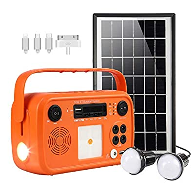 Portable Solar Generator with Solar Panel Solar BT Speaker System with Flashlights Bluetooth, MP3 Player, FM Radio for Home Emergency Backup Power Camping Outage (Orange Retro Style)