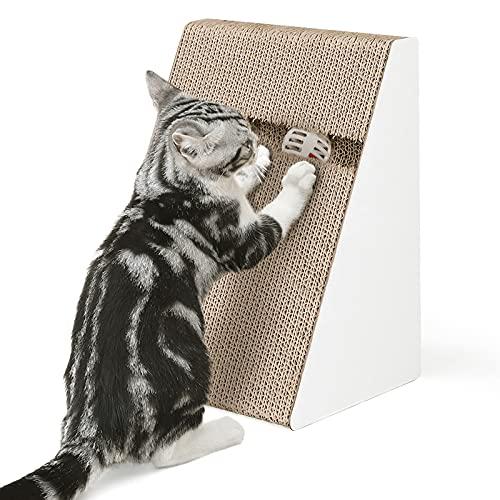 PETTOM Kratzbretter Katze, Kratzpappe mit Spielbälle, Kratzmöbel Wellpappe, Kratzkarton Vielseitig Verfürgbar, Lounge für Katzen (S)