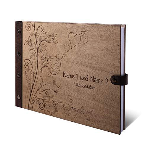 Gastenboek Okoume houten gravure individuele houten kaft met echt lederen rug 72 vellen | 144 pagina's A4 liggend 302x215 mm - Liefdesboom Holzcover Buch quer (302 x 215 mm)