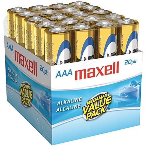Maxell 723849 Ready-to-go Long Lasting and Reliable Alkaline Battery AAA Cell 20-Pack with High Compatibility