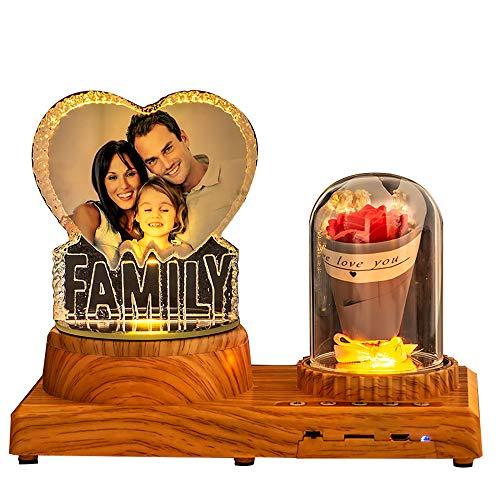 Luz de noche con forma de corazón personalizada Luz de cristal 3D Imagen personalizada Luz de música con Bluetooth Lámpara LED con foto grabada con base de madera de rosa con Bluetooth Regalo