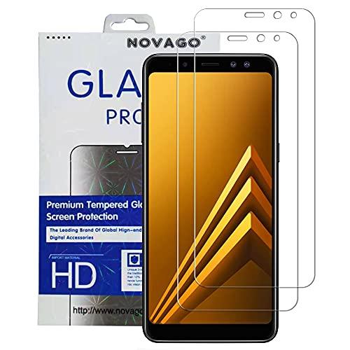 NOVAGO Galaxy A6 (2018) Pack DE 2 Films Protection Écran en Verre trempé Résistants pour Samsung Galaxy A6 (2018) SM-A600FN (Transparent)