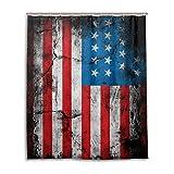 JSTEL Decor Duschvorhang USA-Flagge Muster Druck 100prozent Polyester Stoff Duschvorhang 152,4 x 182,9 cm für Home Bad Deko Duschvorhang