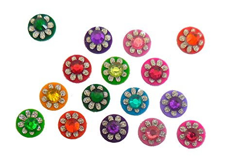 4 Packs - 64 Colorful Crystal Bindi Velvette round face jewels Tika