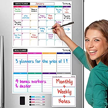 STYLIO Dry Erase Calendar Whiteboard Set of 3 Magnetic Calendars for Refrigerator  Monthly Weekly Organizer & Daily Notepad Wall & Fridge Family Calendar 4 Fine Point Markers & Eraser Included