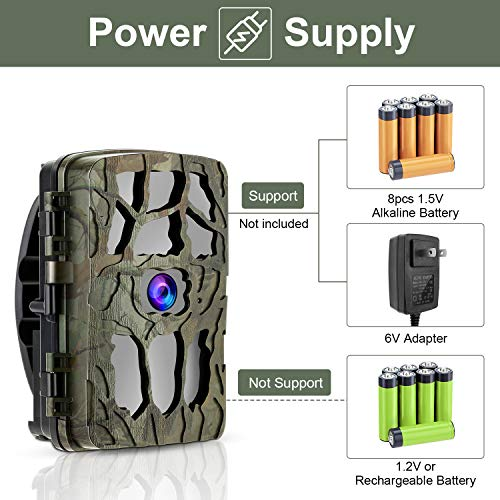 GRM Wildlife Camera Trail Camera 20MP 4K Trail Game Camera with Night Vision Motion Activated, IP66 Waterproof 0.2s Trigger Speed for Garden Wildlife Watching Support 256G TF Card (Not Included)
