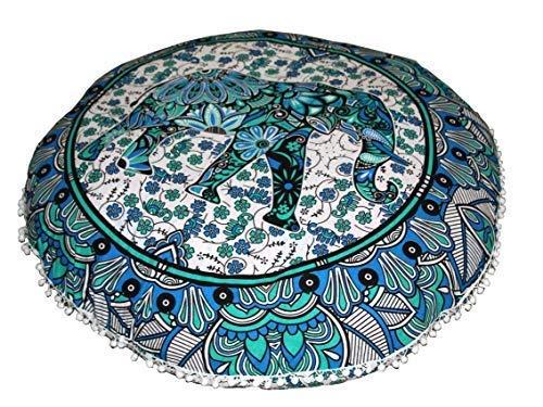 FashionShopmart Ottoman/Floor Pouf Cover/Pillow Large Mandala Cover/Meditation Mat/Indian Yoga Mat Hippie Round Decorative Bohemian Indian Pouf Ottoman Cover with PUM Pomp, Boho Décor