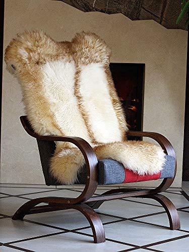 Pioniers Verkauf XXL Echtes Schaffell Lammfell Teppich Naturprodukt pflanzlich gegerbt Ideal als Deko, Sitzfell für das Kinderzimmer, Schlaffzimmer, Wohnzimmer Dachsmuster 110-130 cm (110-119 cm)