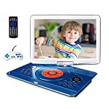16.9' Portable DVD Player with 14.1' Large Swivel Screen, Car DVD Player Portable with 5 Hrs Rechargeable Battery, Mobile DVD Player for Kids, Sync TV, Support USB SD Card with Car Charger (Blue)