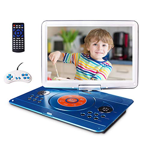 """16.9"""" Portable DVD Player with 14.1"""" Large Swivel Screen, Kids DVD Player Portable for Travel with 5 Hrs Rechargeable Battery"""