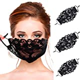 Iuhan_Face_Mask_Lace, 3PC Women Protect_Face_Mask_Cloth, Young Girls Ladies Lace_Face_Mask_Black Embroidery Lace Sexy Mesh Breathable Face Msc