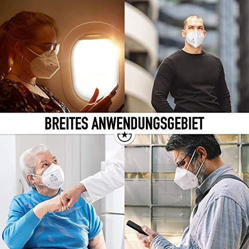 """10x FFP2 Mundschutz Maske – Test: """"SEHR GUT"""" DECADE Maske 4 Lagig – Made in Germany – Mund und Nasenschutz, Einmalmasken EINZELVERPACKT Maske N95 Schutzmaske KN95 - 3"""