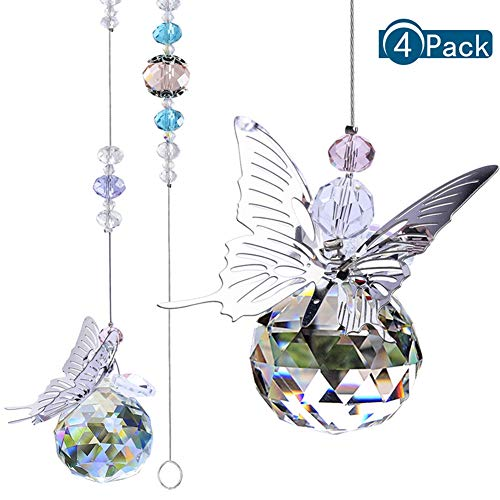 redcherry 4 Stück Kristall Sonnenfänger, Kristall Prisma Sonnenfänger Kristallkugel Prisma für Lampen Kristalle Dekoration Kette, Kronleuchter Lampen Licht Vorhang Hochzeitsdekoration Geschenk