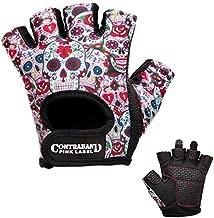 Contraband Pink Label 5237 Womens Design Series Sugar Skull Lifting Gloves (Pair) - Lightweight Vegan Medium Padded Microfiber Amara Leather w/Griplock Silicone (White, Medium)