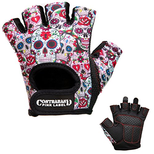 Contraband Pink Label 5237 Womens Design Series Sugar Skull Lifting Gloves (Pair) - Lightweight Vegan Medium Padded Microfiber Amara Leather w/Griplock Silicone (White, Medium)