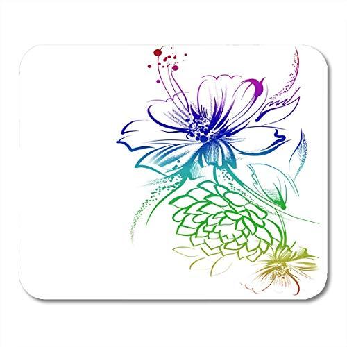 Mauspads Abstrakte Blumen in Tinte auf weißen Kinder gezeichnet Bleistift Grafiktechnologie Rosen und Gänseblümchen Mauspad für Notebooks, Desktop-Computer Büromaterial