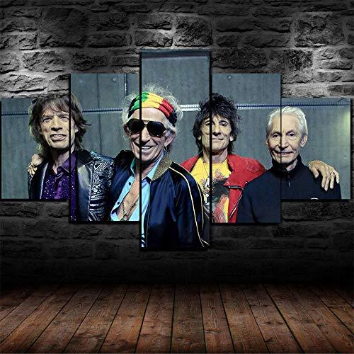 AWER 5 Panel Prints On Canvas Die Rolling Stones Rock Band Wanddekoration Design Hd Bilder Wohnkultur Geschenk TLG Kunstdruck Größe:M/B=150Cm,H=80Cm fertig zum Aufhängen