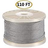 100 pies T316-acero inoxidable 1/8 pulgadas acero inoxidable cuerda de alambre de aviación para cable Kit de barandilla, barandilla de escalera de barandilla de bricolaje, 7 x 7 T316 grado marino