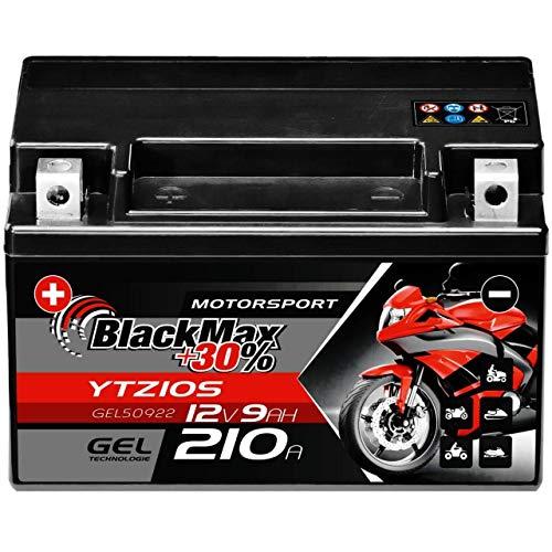 BlackMax YTZ10S Motorradbatterie GEL 12V 9Ah Akku GTZ10-S YTZ10-S-BS GEL12-10B-4