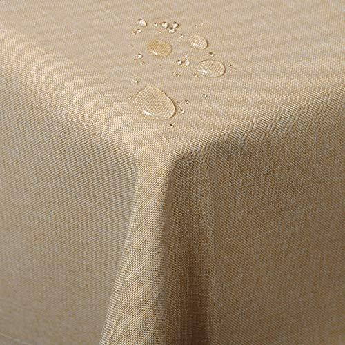 WOLTU TD3045sd Tischdecke Tischtuch Leinendecke Leinen Optik Lotuseffekt Fleckschutz pflegeleicht abwaschbar schmutzabweisend Farbe & Größe wählbar Eckig 130x300 cm Sand