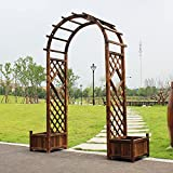 CHUNXIU Arco de jardín Pérgola para Jardin con 2 Jardineras, 2.1m Arco De Jardin para Plantas Arco para Rosas,Decoración para Jardín Balcón Patio,Madera Maciza